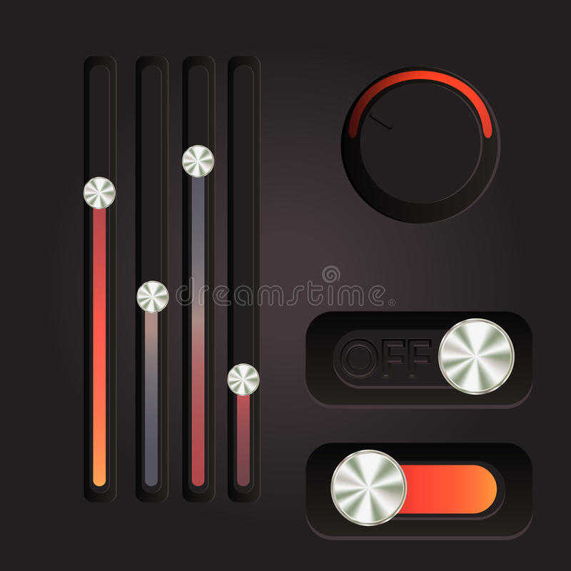 User interface power slider buttons. Use for web design stock illustration