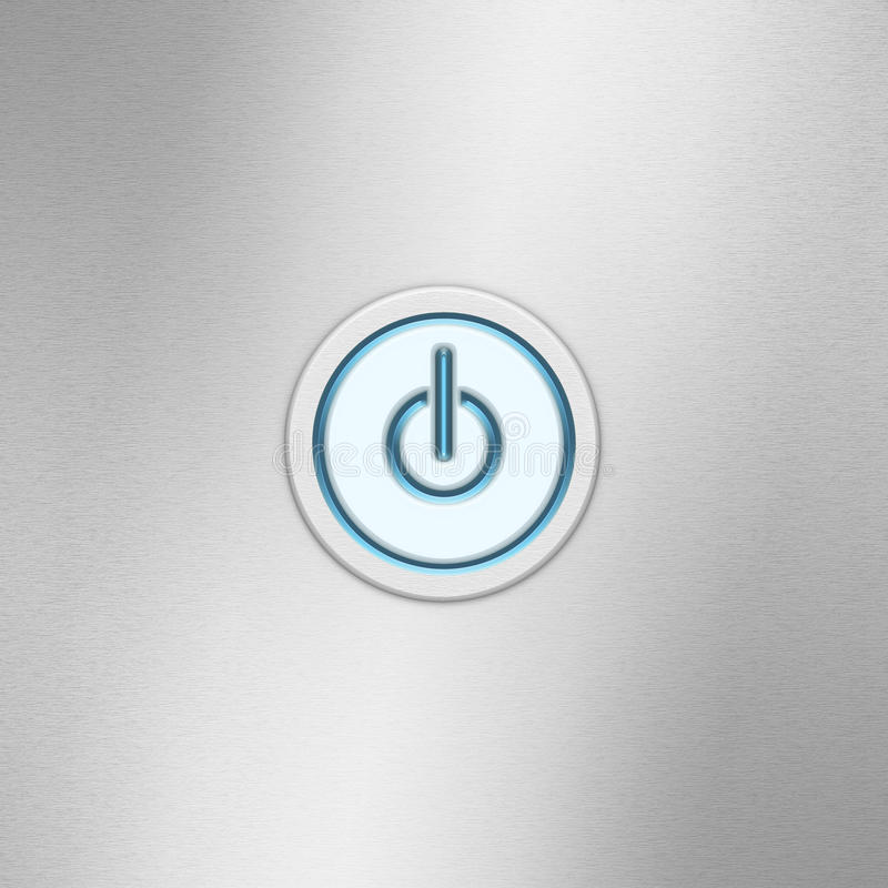 User interface switch button On/Off. Power button on a brushed aluminum panel stock photo