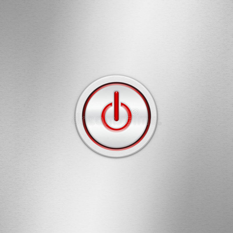 User interface switch button On/Off. Power button on a brushed aluminum panel royalty free stock photography