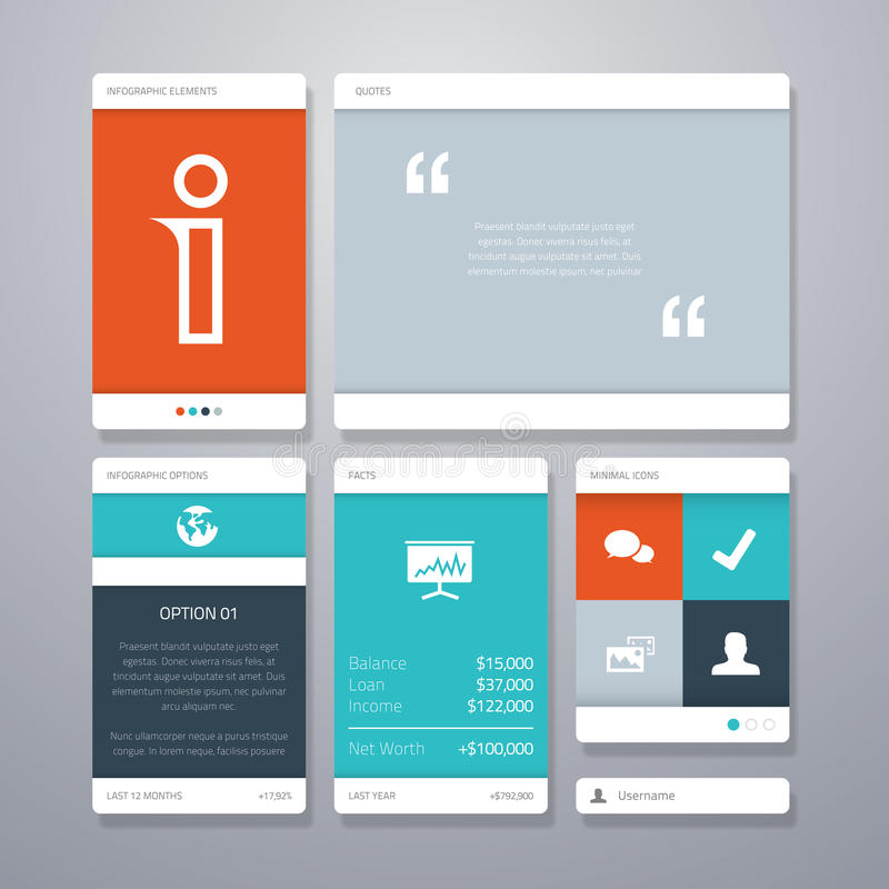 User interface template elements. Eps10 stock illustration