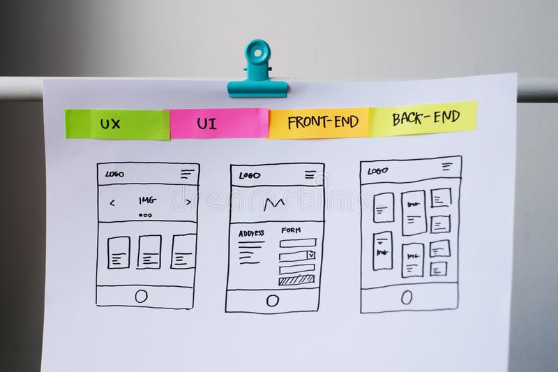 Designer desk with UI wireframe sketches. royalty free stock photos