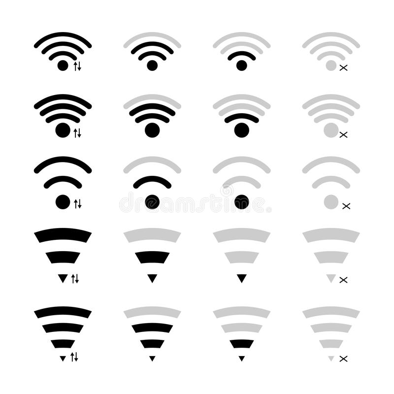 User interface wifi icons stock illustration