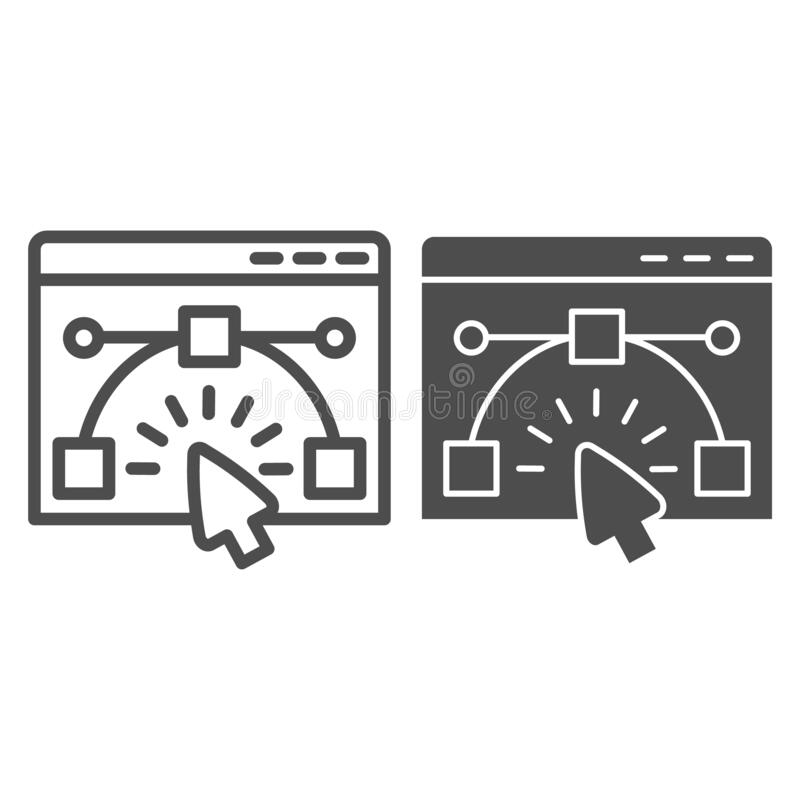 User interface window line and solid icon. Website wireframe constructor in browser. Internet technology vector design. Concept outline style pictogram on white vector illustration