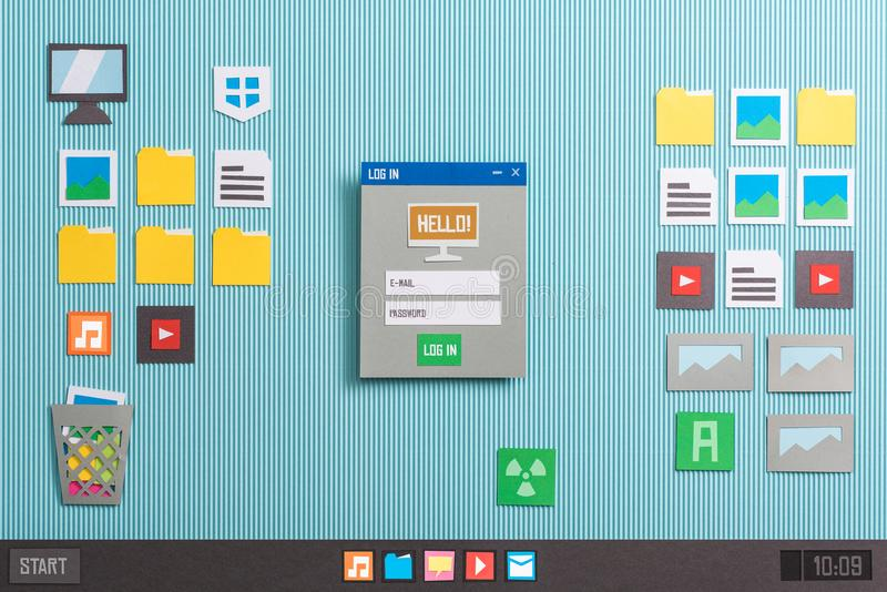user login and application launching stock illustration