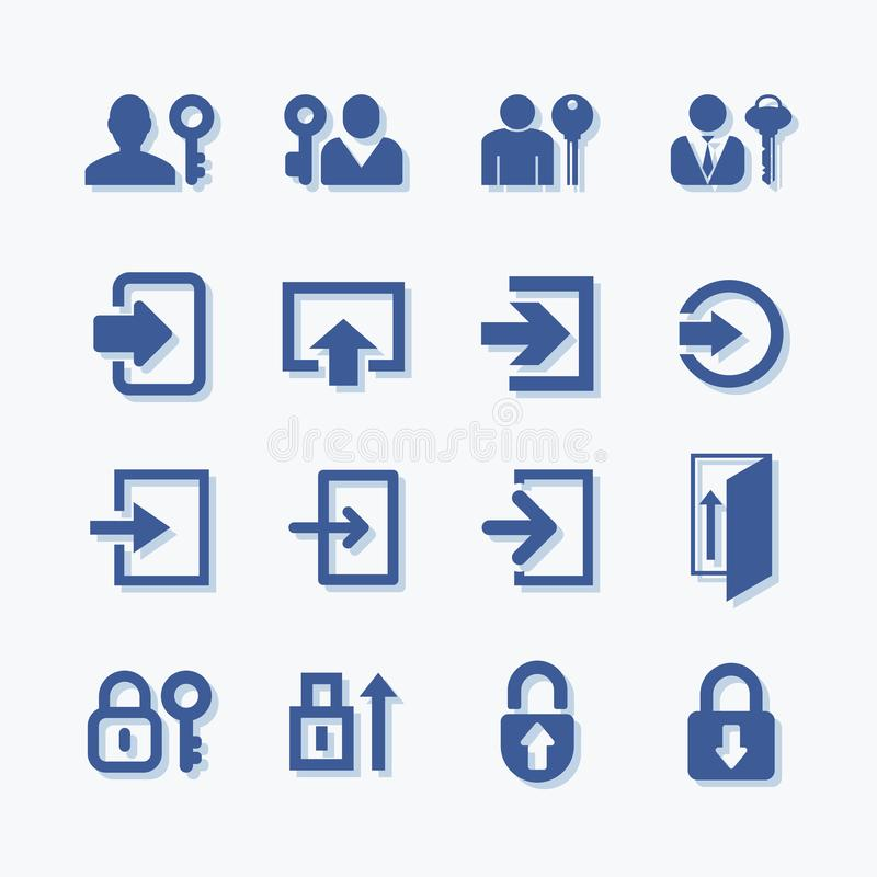 User login or authenticate vectoe icons. Personal protection symbol. Internet privacy account protection. royalty free illustration