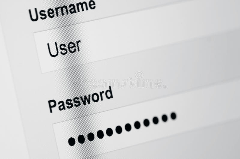 User login on screen stock photography