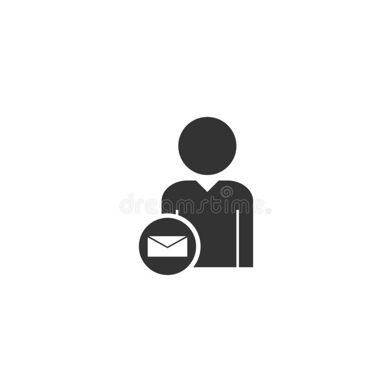 User mail icon flat royalty free illustration