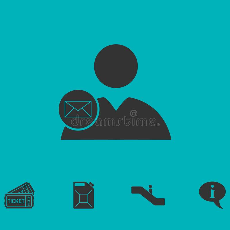User mail icon flat royalty free illustration