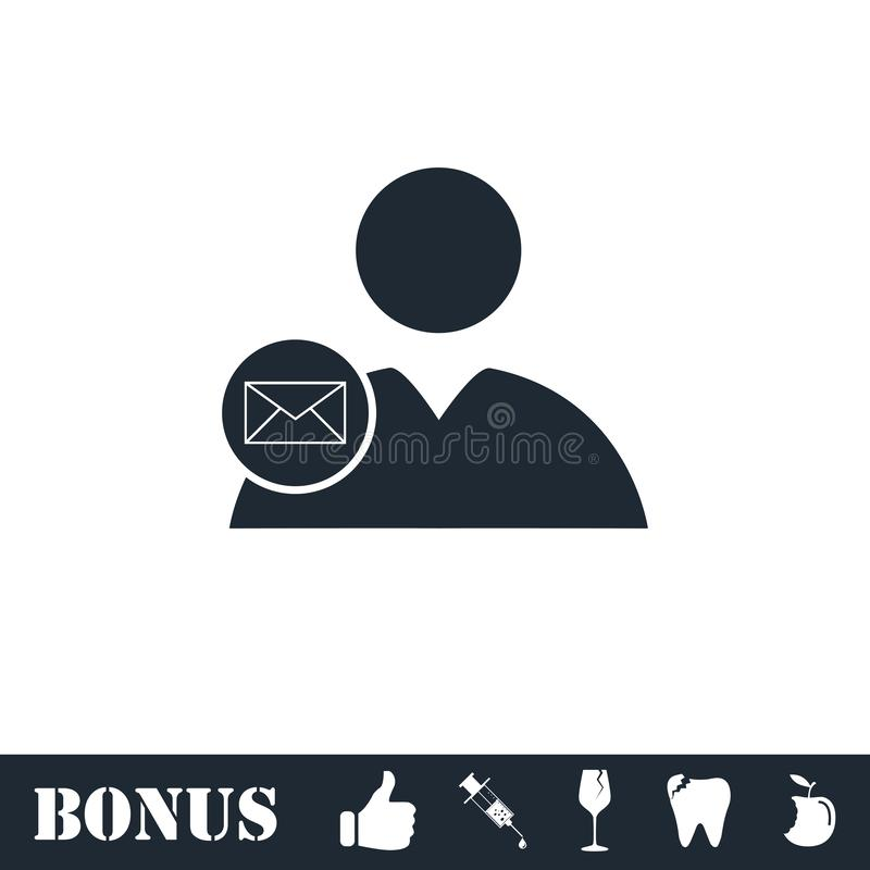 User mail icon flat. Vector illustration symbol and bonus pictogram royalty free illustration