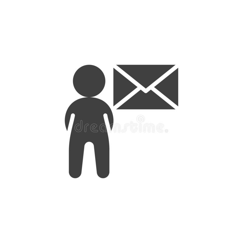 User mail message vector icon. Email Marketing filled flat sign for mobile concept and web design. Man with envelope glyph icon. Symbol, logo illustration royalty free illustration