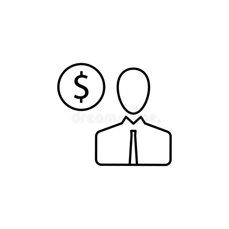 User, man, dollar icon. Element of finance illustration. Signs and symbols icon can be used for web, logo, mobile app, UI, UX royalty free illustration