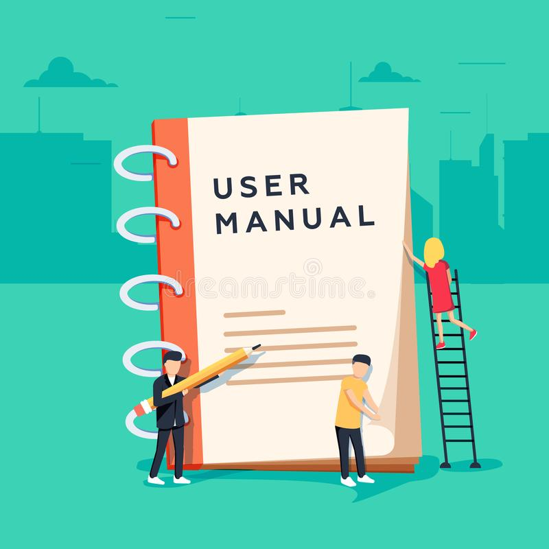User manual flat style vector concept. People, surrounded with some office stuff, are discussing content royalty free illustration