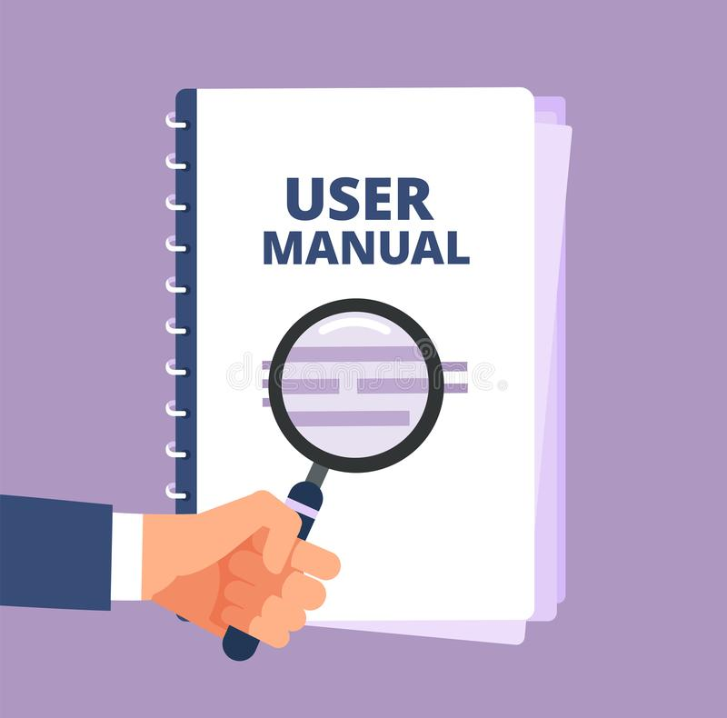 Free User Manual With Magnifying Glass. User Guide Document And Magnifier. Handbook, Handbook, Instruction And Guidebook Royalty Free Stock Photo - 128229745