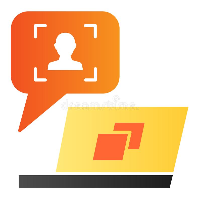 User message on laptop flat icon. Feedback customer color icons in trendy flat style. Chat online gradient style design. Designed for web and app. Eps 10 vector illustration