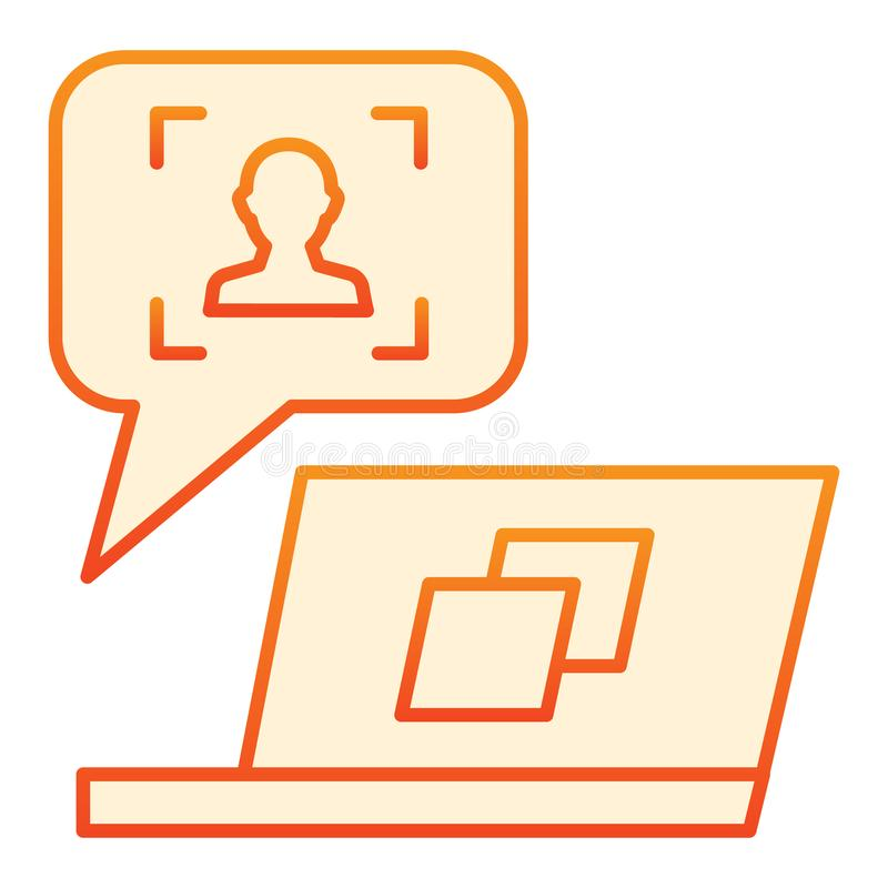 User message on laptop flat icon. Feedback customer orange icons in trendy flat style. Chat online gradient style design. Designed for web and app. Eps 10 vector illustration