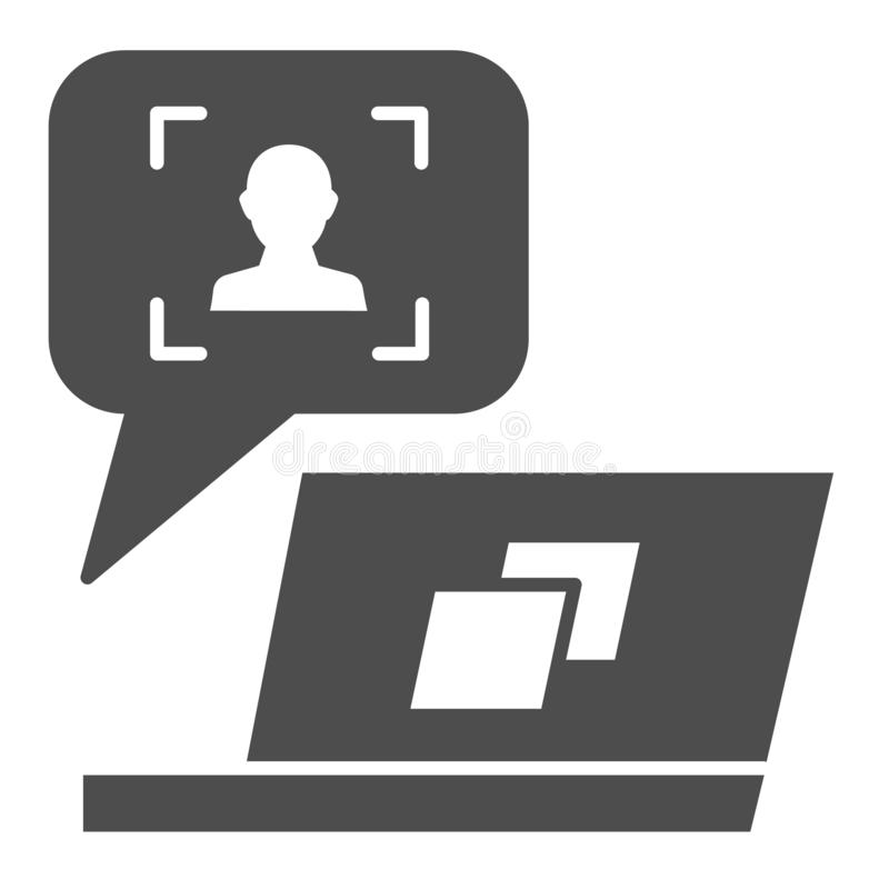 User message on laptop solid icon. Feedback customer vector illustration isolated on white. Chat online glyph style. Design, designed for web and app. Eps 10 stock illustration