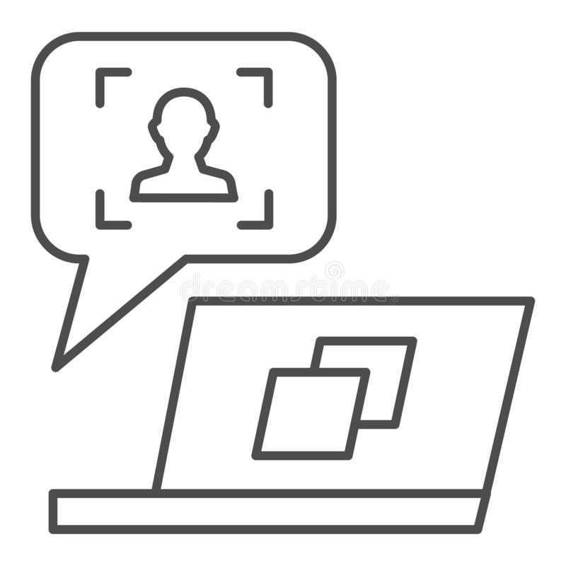 User message on laptop thin line icon. Feedback customer vector illustration isolated on white. Chat online outline. Style design, designed for web and app. Eps stock illustration