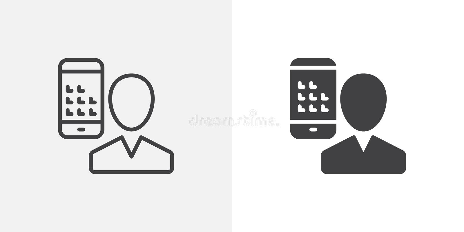 User and mobile phone icon royalty free illustration