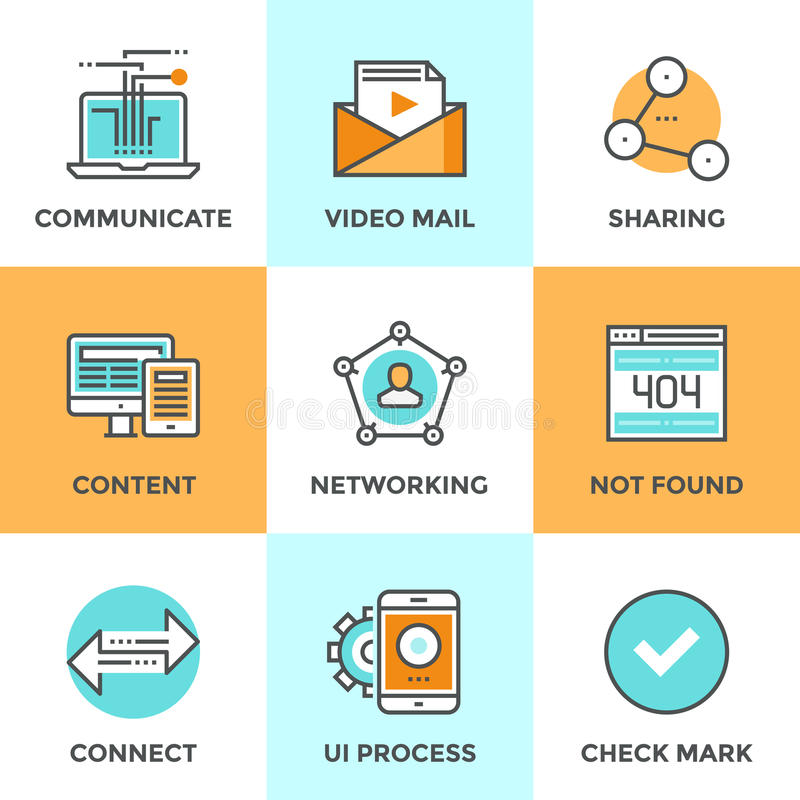 User networking line icons set vector illustration