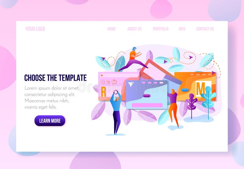 User Onboarding Web Page Flat Vector Template. Company Landing Page or Personal Internet Site Constructor, Website Builder Online Service Page Flat Vector vector illustration