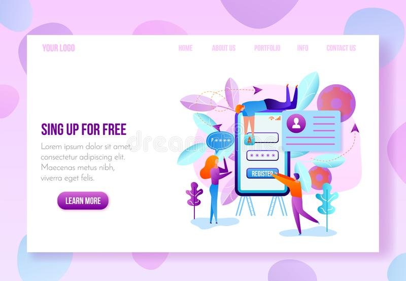 User Onboarding Web Page Flat Vector Template. Company or Online Service Internet Site, Landing Page, Web Application New Account Sign Up or Registration Page stock illustration