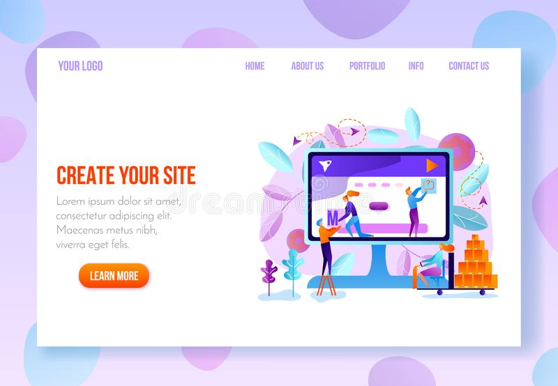 User Onboarding Web Page Flat Vector Template. Site constructor, website builder online service page flat vector template in pastel colors with navigation vector illustration
