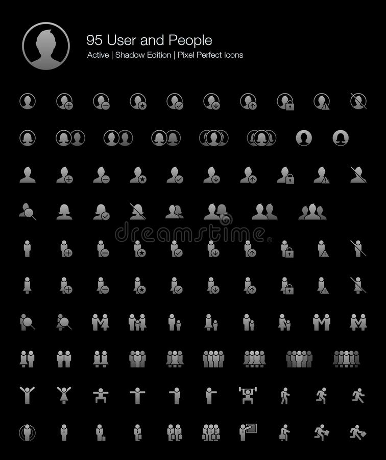 User People Profile Person Avatar Web Icon Set for Black Background. 95 User and People Pixel Perfect Icons Filled Style Shadow Edition. Vector icons for user royalty free illustration