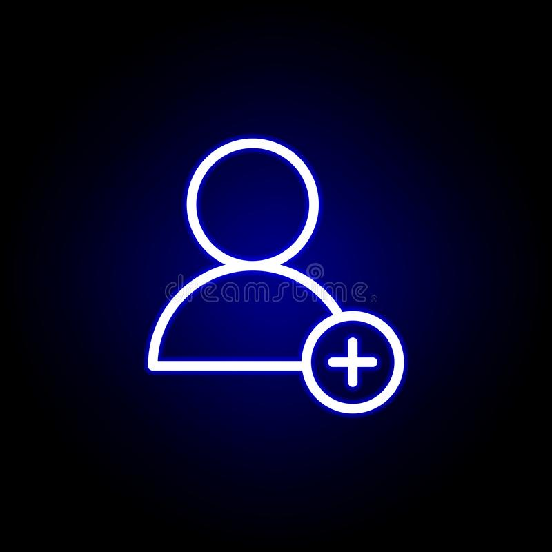 User and plus icon in neon style. Can be used for web, logo, mobile app, UI, UX royalty free illustration
