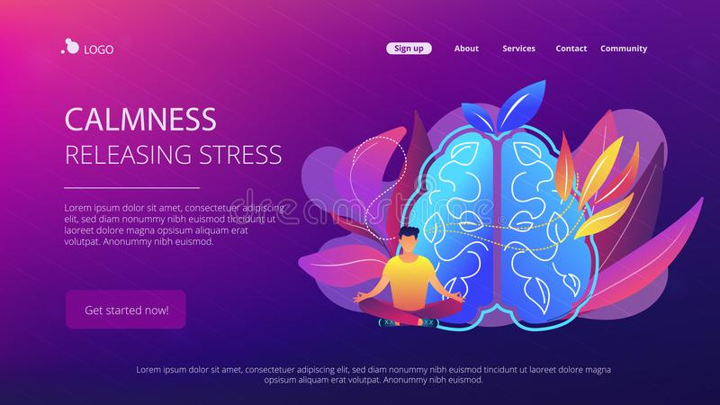 Calmness and releasing stress concept landing page. royalty free illustration
