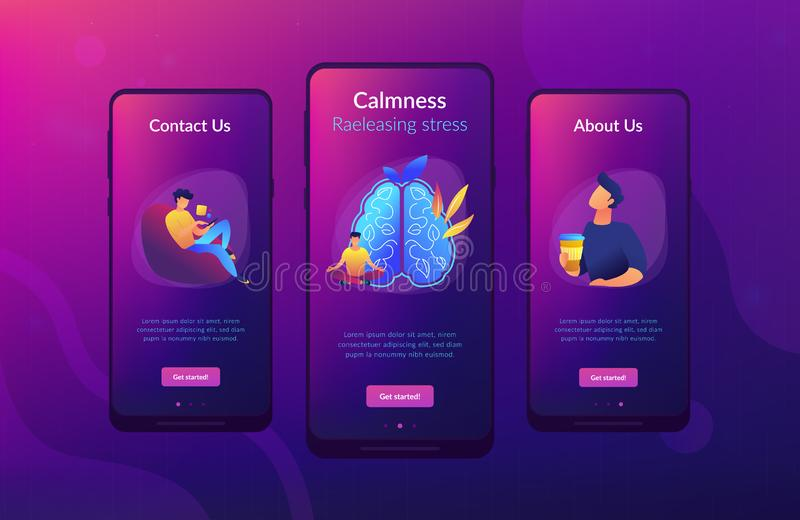 Calmness and releasing stress concept app interface template. vector illustration