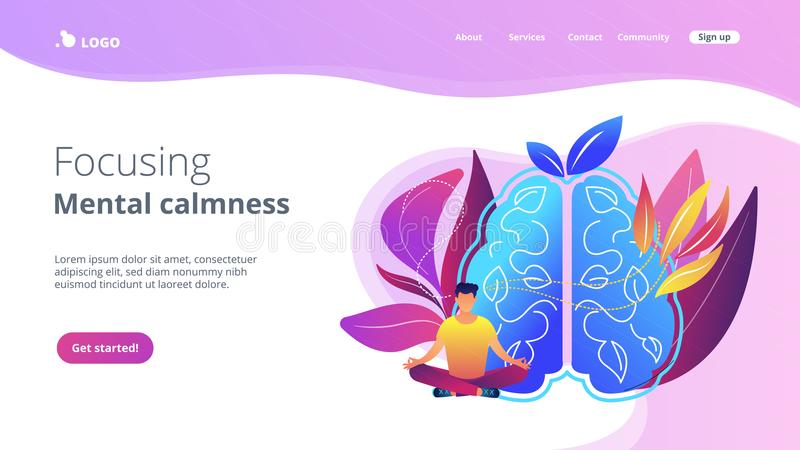 Focusing and mental calmness landing page. vector illustration