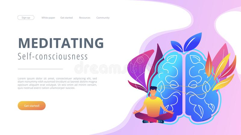 Meditating and self-consciousness concept landing page. vector illustration