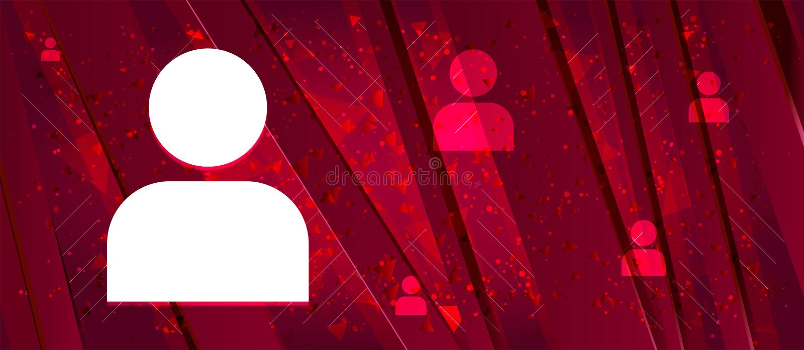 User profile icon Abstract design bright red banner background. User profile icon isolated on Abstract design bright red banner background royalty free illustration