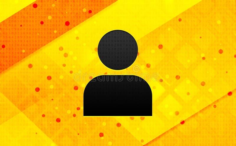 User profile icon abstract digital banner yellow background. User profile icon isolated on abstract digital banner yellow background royalty free illustration