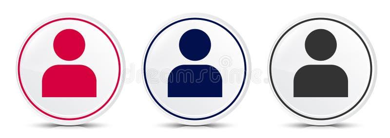 User profile icon crystal flat round button set illustration design. Isolated on white background vector illustration