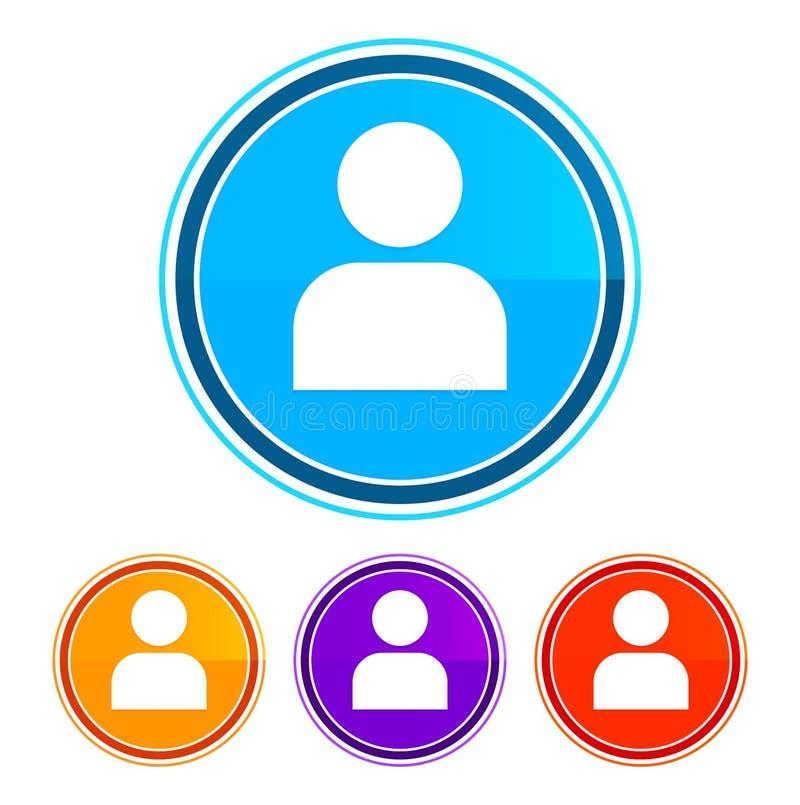 User profile icon flat design round buttons set illustration design. Isolated on white background royalty free illustration