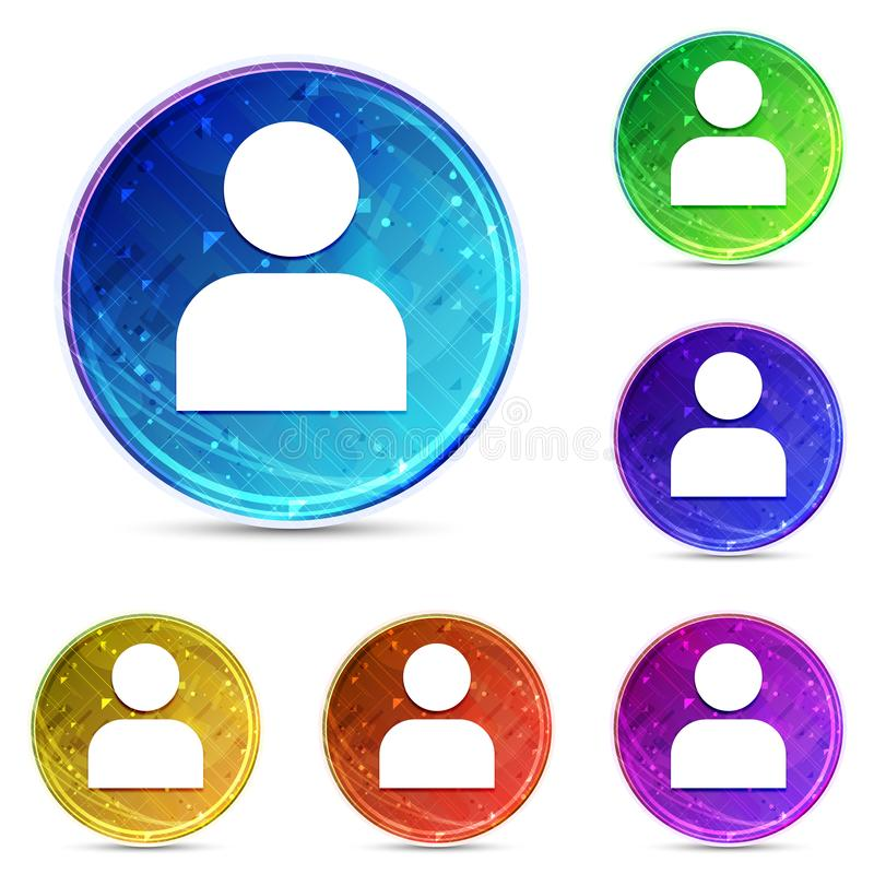 User profile icon digital abstract round buttons set illustration. User profile icon isolated on digital abstract round buttons set illustration stock illustration