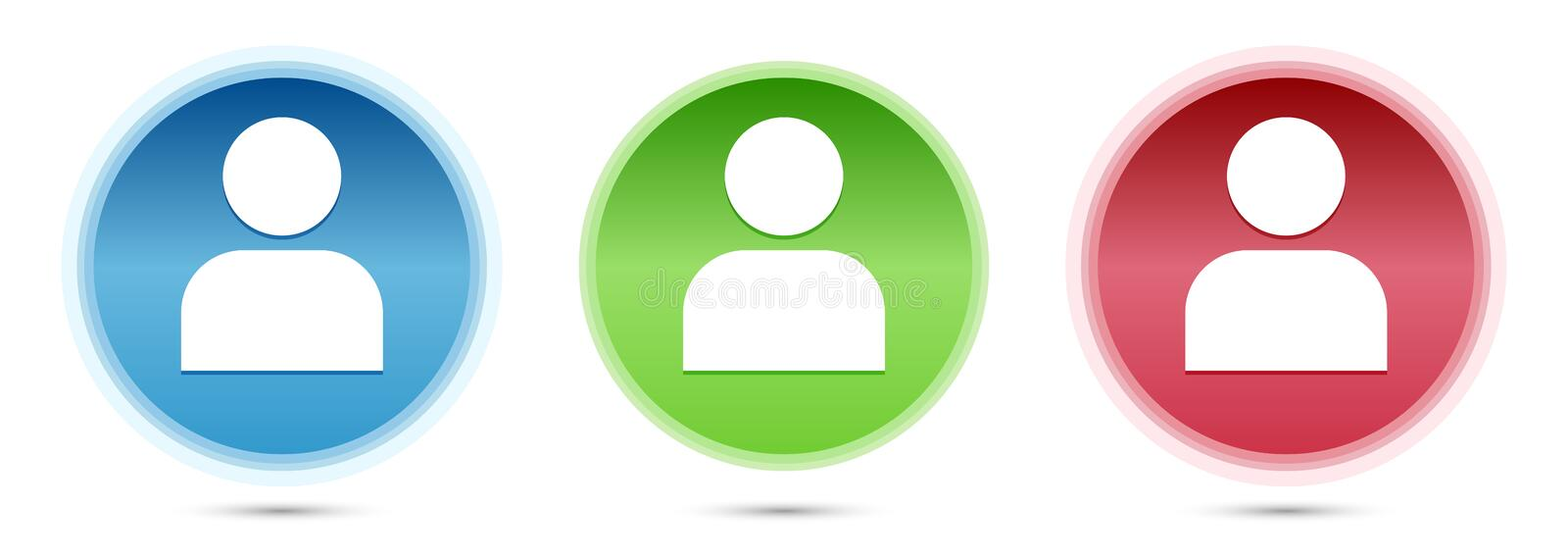 User profile icon glass round buttons set illustration. User profile icon isolated on glass round buttons set illustration stock illustration