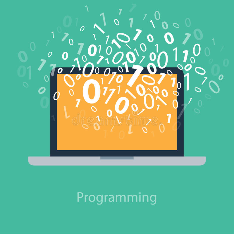 Decorator S Notebook Blog: User Programming Coding Binary Code On Notebook. Stock