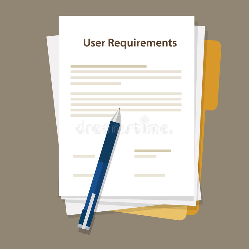 User requirements specifications document paper work stock illustration