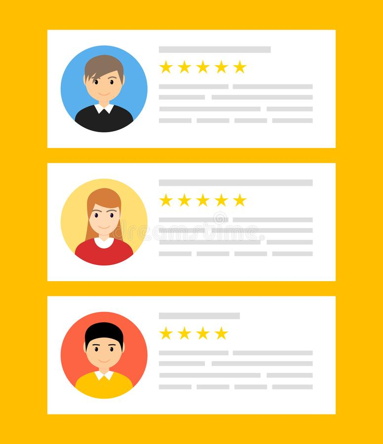 User reviews online. Customer feedback review experience rating concept. User client service message.  royalty free illustration