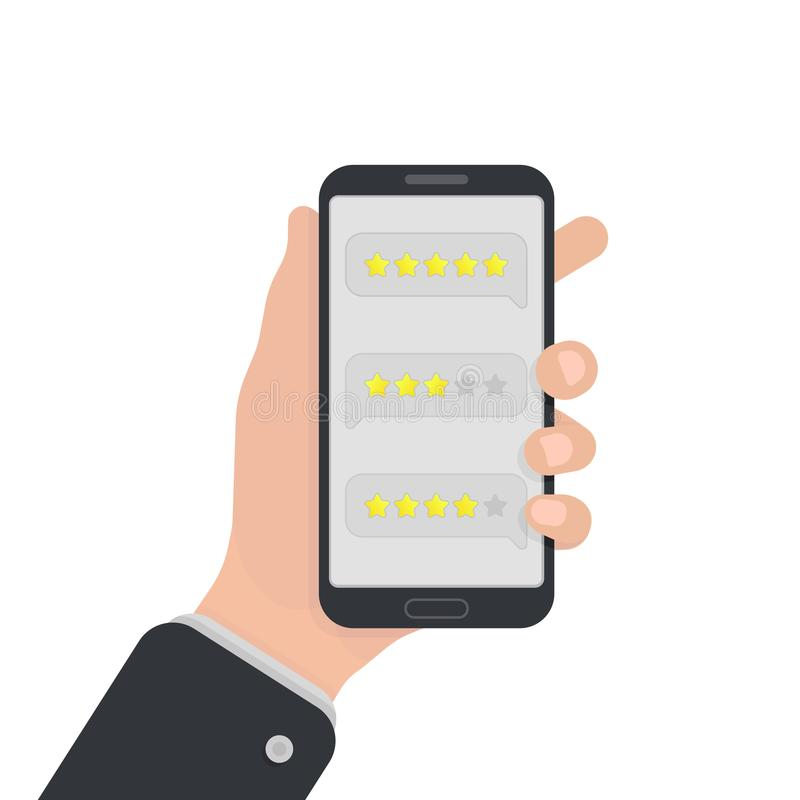 User reviews on smartphone. Feedback. Testimonial messages on mobile phone. Review rating in speech bubbles. Good and bad rate stock illustration