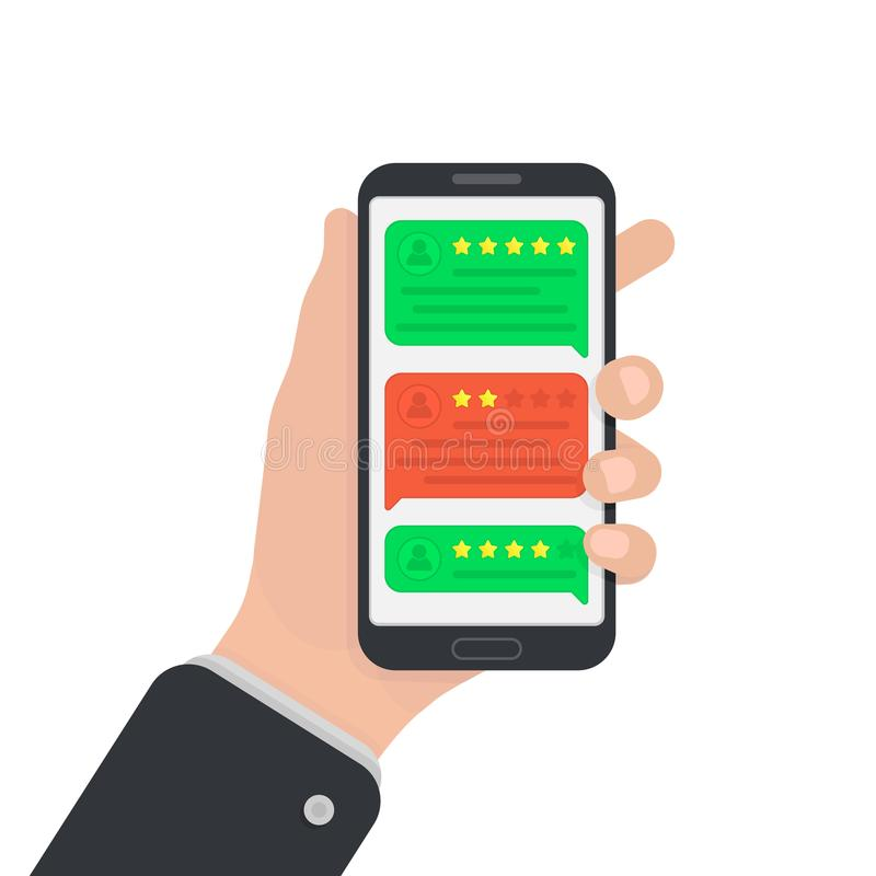 User reviews on smartphone. Feedback. Testimonial messages on mobile phone. Review rating in speech bubbles. Good and bad rate. Ha. Nd with smartphone royalty free illustration