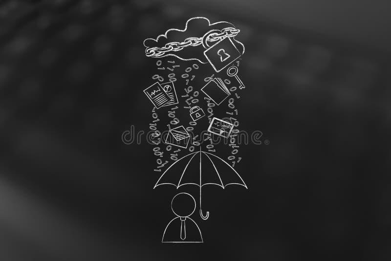 Download User With Umbrella Under Binary Code Rain, Data Breach Protectio Stock Illustration - Image: 83721551