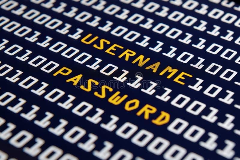 Username y contraseña - Internet imagen de archivo libre de regalías