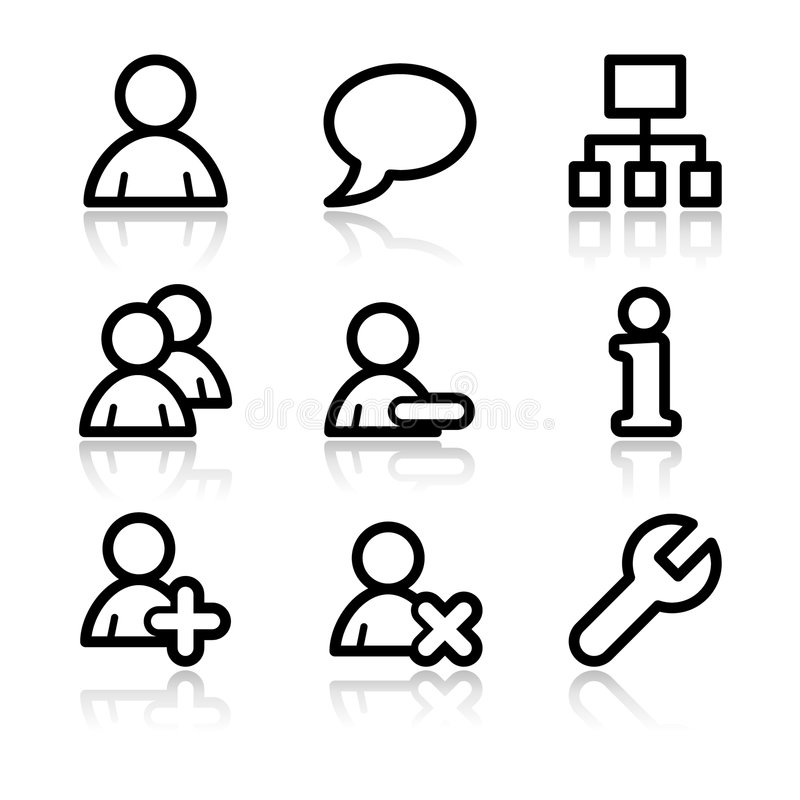 Free Users Contour Web Icons Royalty Free Stock Images - 6850229