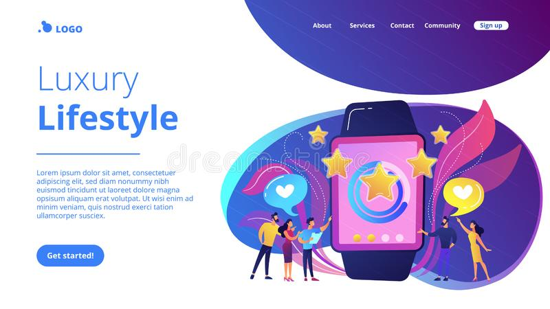 Luxury smartwatch concept landing page. Users with hearts like huge smartwatch with rating stars. Luxury smartwatch, fashion watch and luxury lifestyle concept royalty free illustration