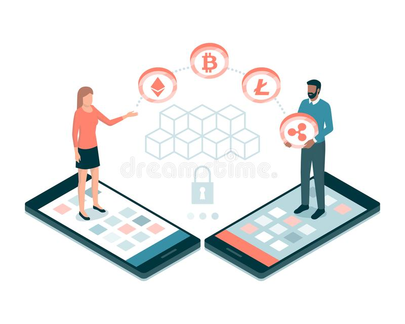 Bitcoin and cryptocurrency royalty free illustration