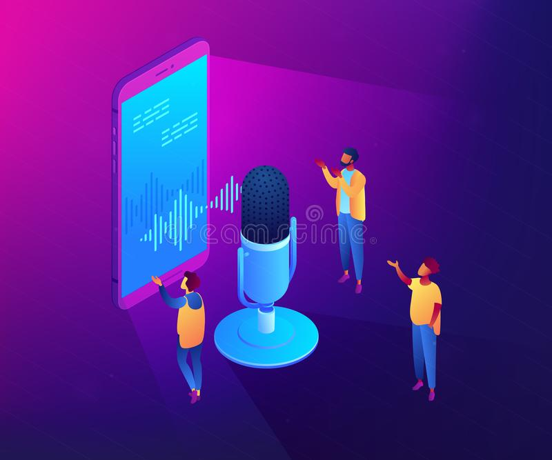 Personal voice assistant isometric 3D concept illustration. Users with microphone talk to voice assistant in smartphone. Personal voice assistant, voice stock illustration