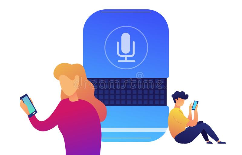 Users with smartphones connected with smart speaker vector illustration. stock illustration